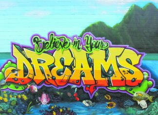 "The ""Believe In Your Dreams and Spray Away Meth"" workshop and mural were Trysen ""TK"" Kaneshige's senior year project at Kaua'i High School. (Photo by Trysen Kaneshige)"