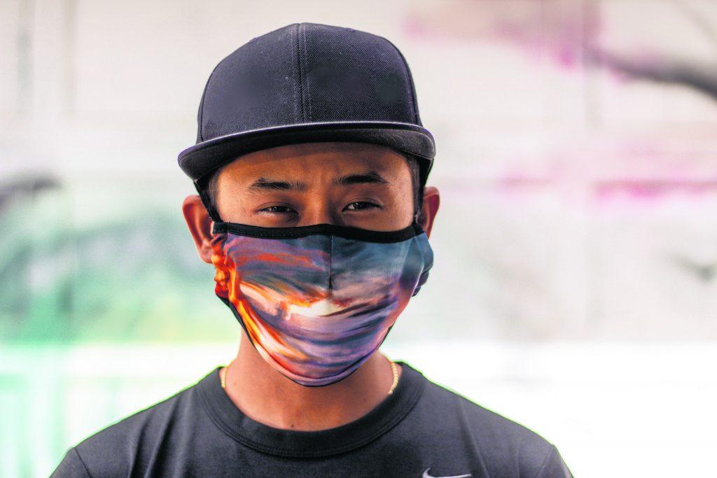 Trysen 'TK' Kaneshige representing his face mask