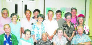 The Nonaka family in 1987. Front row, from left: Takao, Chiyoko, Takano, Fujiko, Hideo. Back row: Masatoshi, Yukie, Iwao, Norman, Tamiko, Frank, Pearl, Helen, Charles, Clara. (Photo courtesy of Nancy Kurokawa)
