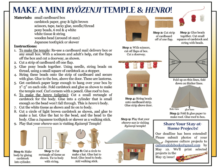 Culture4Kids! May 1, 2020 Issue 'Make a Mini Ryozemji Temple and Henro!'