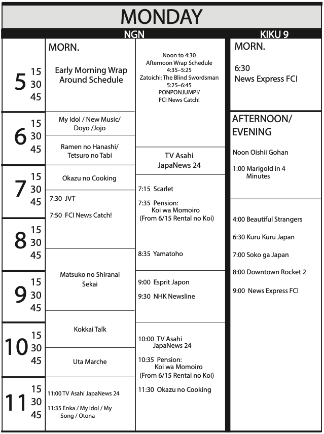 TV Program Schedule 5/15/2020 Issue - Monday