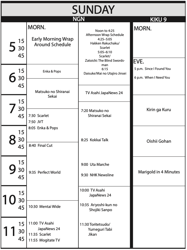 TV Program Schedule 5/15/2020 Issue - Sunday