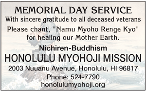 Ad for Honolulu Myohoji Mission, 'Memorial Day Service, with sincere gratitude to all deceased veterans.'