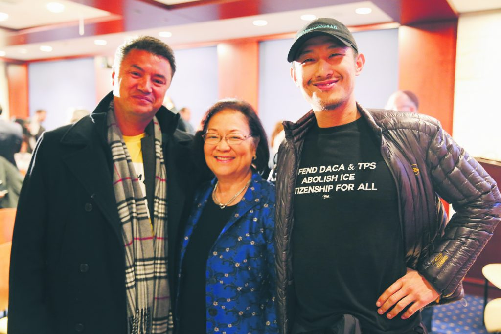 Hirono with two supporters of the DACA program, during one of many Nov. 12, 2019, nationwide rallies urging the U.S. Supreme Court to save this program for immigrant families from the Trump administration's 2017 repeal.