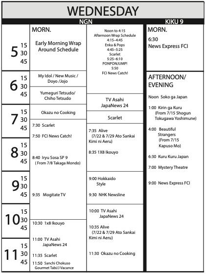 TV Program Schedule 6/19/2020 Issue - Wednesday