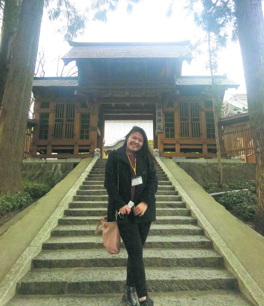 Yamamoto visited a temple in Iwate Prefecture where she learned about meditation and Japanese tea ceremony.