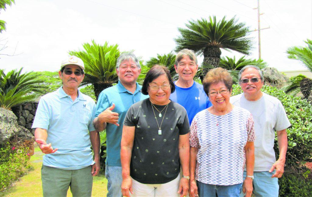 """OGSH's """"A-Team."""" Front row, from left: Sally Kamiya Tsuda and Dorothy Nakama. Back row, from left: Shigeru Yoshimoto, Steve Miyashiro, Alan Toma and Rodney Kohagura. (Photo courtesy of Kaaran Takara)"""