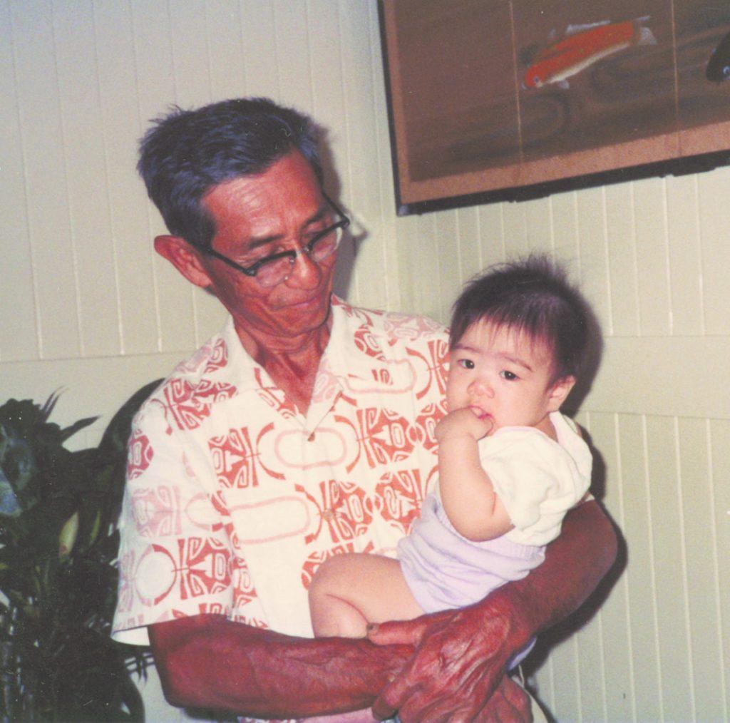 Jayna Omaye and her veteran grandfather, Hideo Nimori, who inspired the Nisei veterans multi-media project. Photo taken circa 1990. (Photo courtesy of Jayna Omaye)