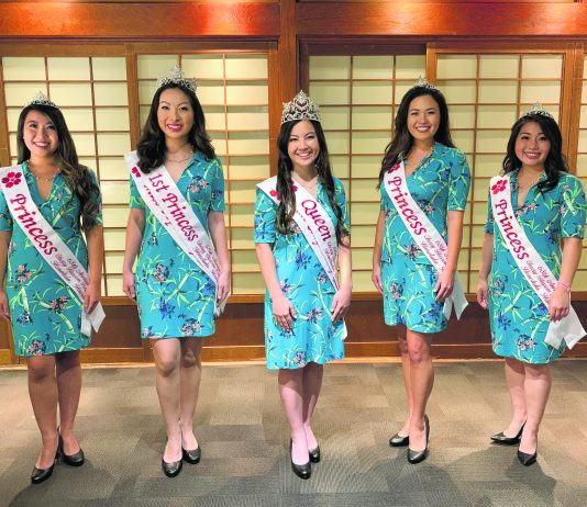 68th Annual Cherry Blossom Festival Court (left to right): Princess Kelsey Toshie Uyeda, First Princess and Miss Popularity Sophia Aiko Teruya, Queen and Miss Congeniality Jewel Kahiwalani Miyuki Mahoe, Princess Lauren Elizabeth Holt and Princess Alyssa Mika Nakamoto. (Photo courtesy of HJJCC)