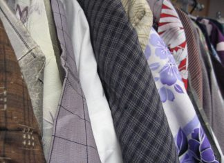 A wide range of colors and patterns is displayed among the stylish Japanese-fashion items of the Gift Shop sale, including kimono, yukata, happi and obi. (Photo courtesy of JCCH)