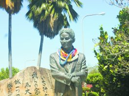 "Statue of Kyüzö Töyama, the ""Father of Emigration from Okinawa,"" at the Hawaii Okinawa Center in Waipi'o. (Photo by Caro Higa)"