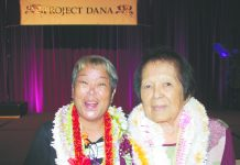 Executive Director Cyndi Osajima and Founding Administrator Rose Nakamura at Project Dana's 30th anniversary celebration on Sept. 28, 2019, at Dole Cannery's Pomaika'i Ballroom. (Photo by Kevin Kawamoto)