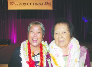 Executive Director Cyndi Osajima and Founding Administrator Rose Nakamura at Project Dana's 30th anniversary celebration on Sept. 28, 2019, at Dole Cannery's Pomaika'i Ballroom. (Photo by Kevin Kawamoto)