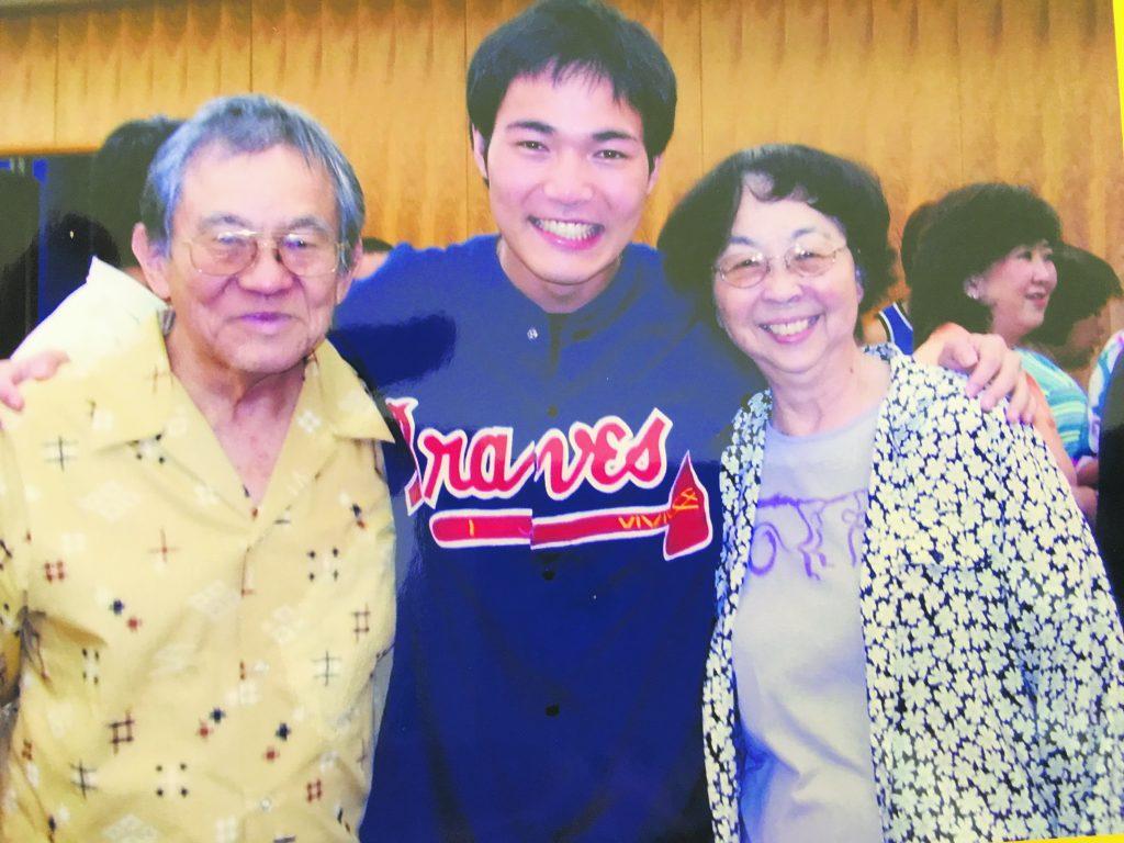 Jon and Barbara Shirota in 2005 with then-University of the Ryukyus student Tatsunori Gushi. Jon was a grandfather figure to Gushi, who now teaches English to high schoolers in Okinawa. (Photo by Karleen Chinen)