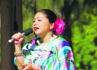 Rimi Natsukawa performing at the 2017 HUOA Okinwan Festival at Kapi'olani Park.
