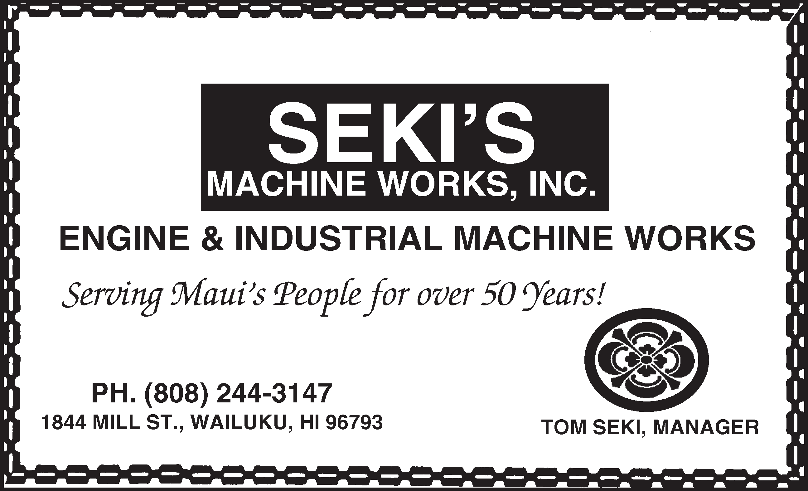 Seki's Machine Works Inc. serving maui's people for over 50 years