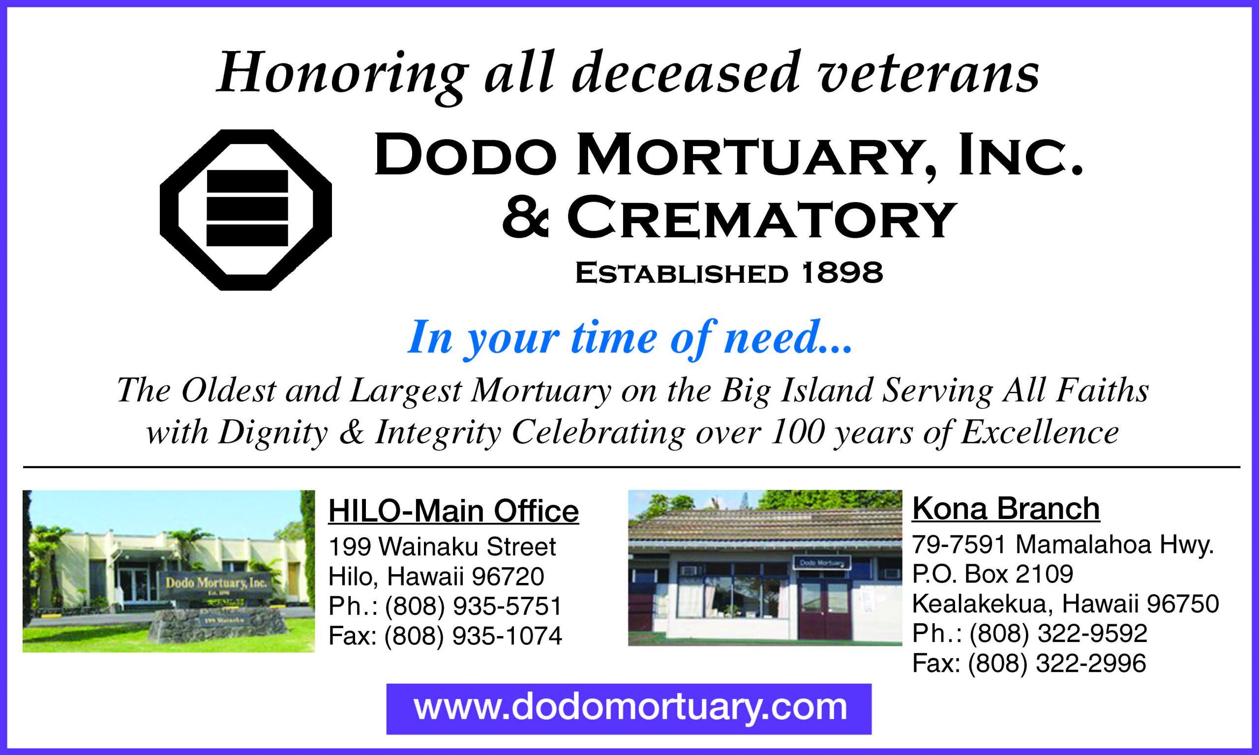 Dodo Mortuary Memorial Day ad