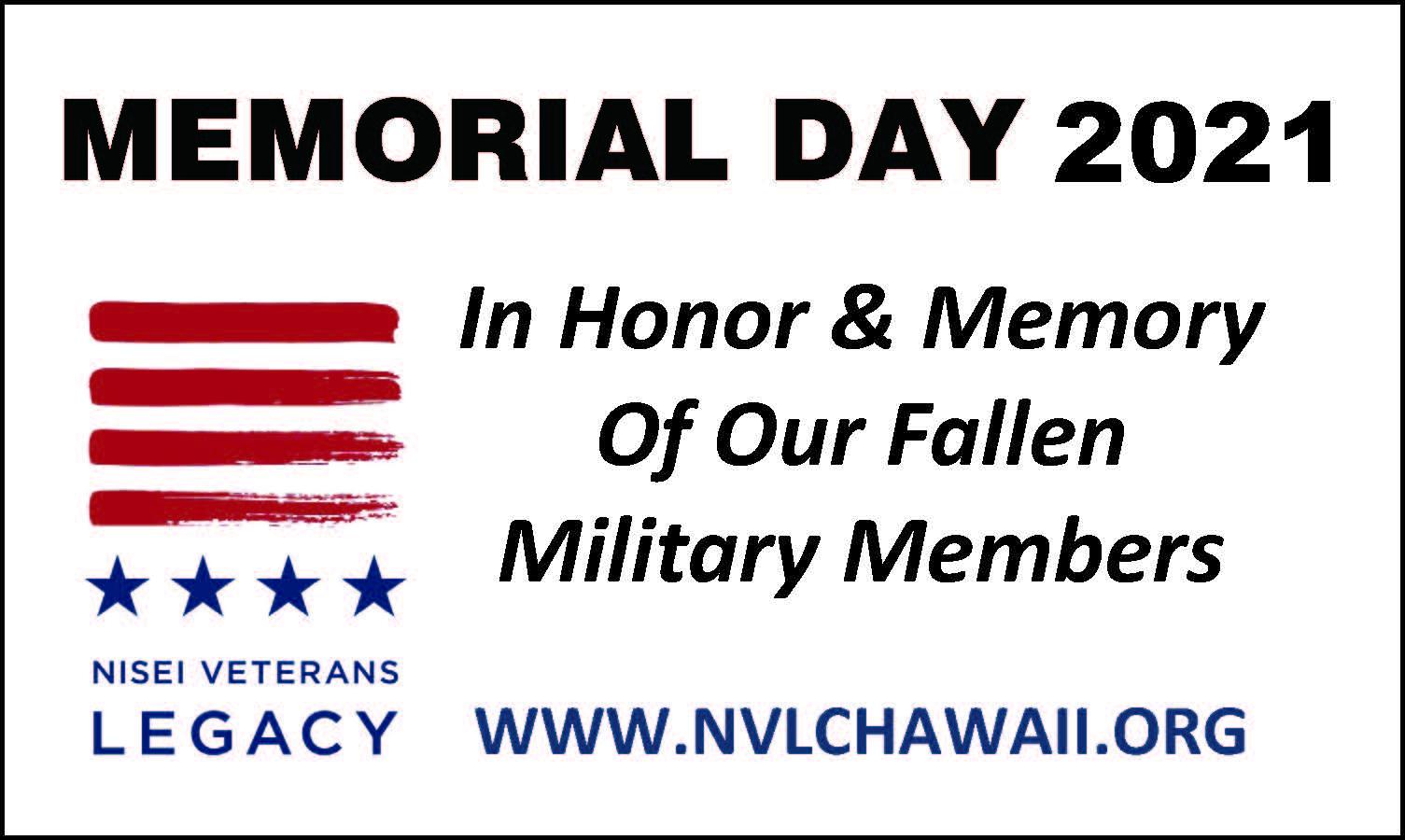 NVLC Hawaii Memorial Day ad