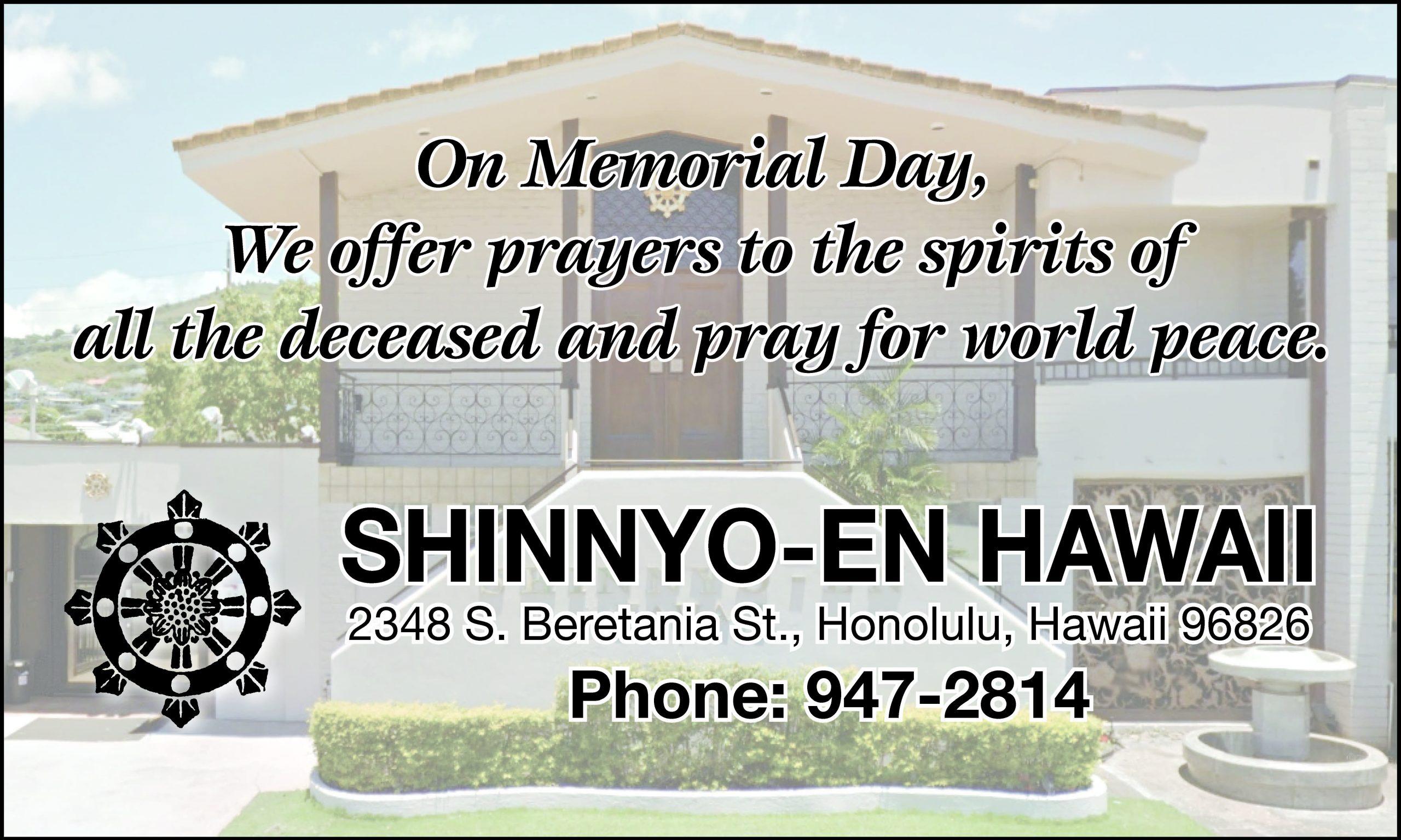 Shinnyo-en Hawaii Memorial Day ad