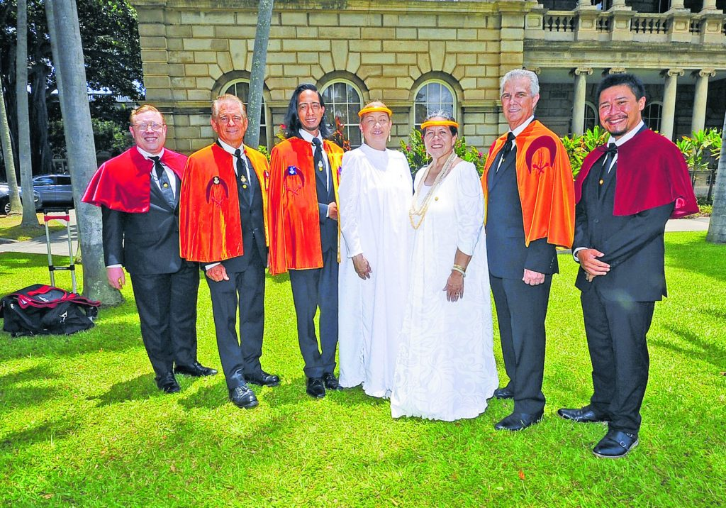 Members of The Royal Order of Kamehameha I which was established in 1865 by King Kamehameha V to honor the legacy of his grandfather, the unifier of the Hawaiian islands, King Kamehameha the Great.