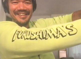 Destin Daniel Cretton shows off his love for the Fukushima Store in Ha'ikü, Maui. (Photo by Lee Tonouchi)
